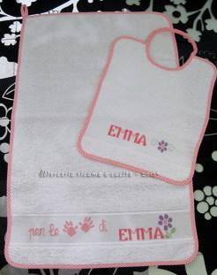 Coppia asciugamani e bavette per Emma