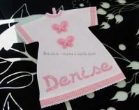 Fiocco nascita cicogna rosa e maglietta auto per Denise