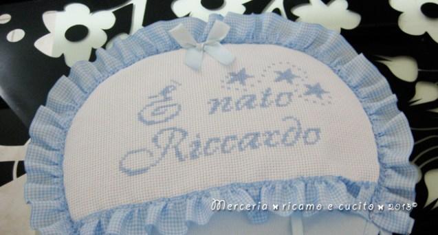 """Fiocco nascita mongolfiera celeste """"E' nato Riccardo"""""""