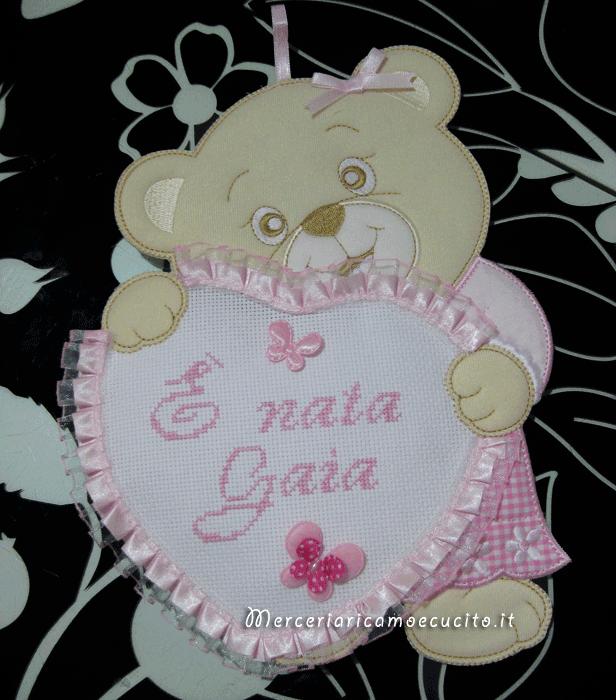 Fiocco nascita orsetto con cuore e cicogna per Gaia