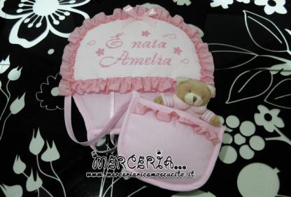 Coccarda fiocco nascita mongolfiera rosa È nata Amelia
