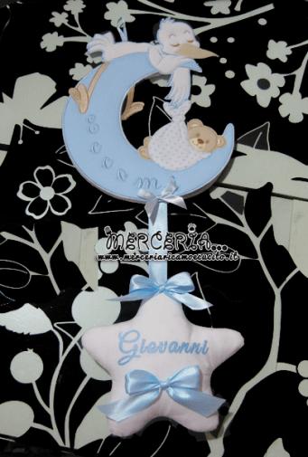 """Fiocco nascita luna celeste """"Eccomi"""" con cicogna e stella per Giovanni"""