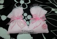 Fiocco nascita orsetto con cuore e sacchettini bomboniere portaconfetti per Arianna
