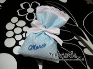Sacchettini bomboniere portaconfetti celeste pois per Marco