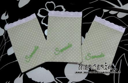 Sacchettini bomboniere portaconfetti verde pois per Samuele