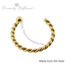 Karma Se7en 9ct Twisted Gold Open Nose Ring