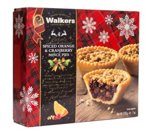 Image of Walkers Shortbread Spiced Orange & Cranberry Mince Pies in Box.