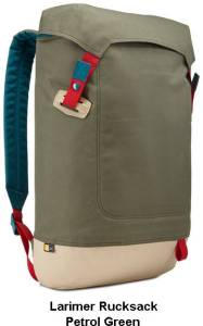 Image of petrol green Larimer Rucksack seen from the Front