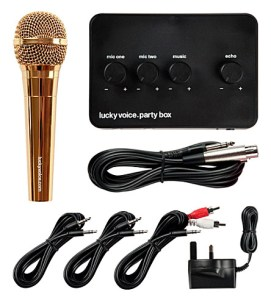 Image showing contents of Lucky Voice Karaoke Kit with Chrome Golf Mic