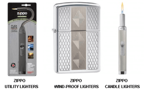 Zippo Gifts - Image showing Zippo Utility Lighter, Wind-Proof Lighter and Candle Lighter