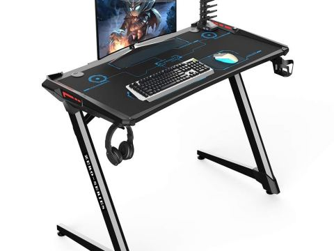 Kinsal Z-Shaped Gaming Desk Computer Desk Table with Fighting RGB LED Ambience Lighting and Large Size Mousepad