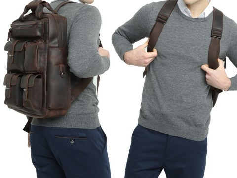Polare Cowhide Leather Multiple Laptop Backpack Day pack Travel Bag