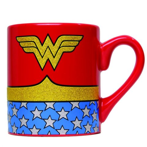 Silver Buffalo WW0132G DC Comics Wonder Woman Uniform Glitter Ceramic Mug