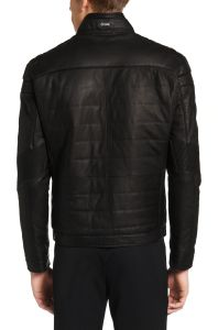 Men's soft leather biker jacket with lightweight lining by BOSS rear