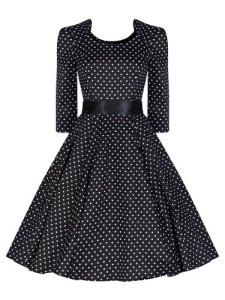 Ladies 40's 50's Vintage Style Black Polka Dot Crop 34 Sleeve Rockabilly Tea Dress