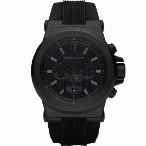 Michael Kors Gents Black Rubber Strap Watch