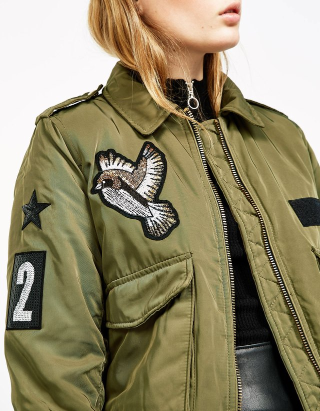 Nylon aviator jacket with patches at Bershka