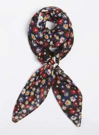 Black Ditsy Daisy Square Scarf at Dorothy Perkins