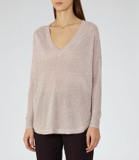 Bless Blush Metallic Jumper at Reiss
