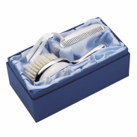Carrs Sterling Silver Child's Brush & Comb In Silk Lined Box at H.Samuel