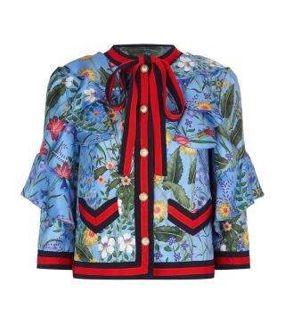 Gucci Floral Print Ruffled Silk Jacket at Harrods