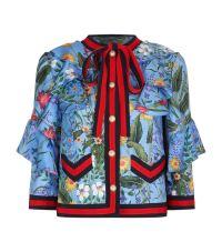 Gucci Floral Print Ruffled Silk Jacket at Harrods