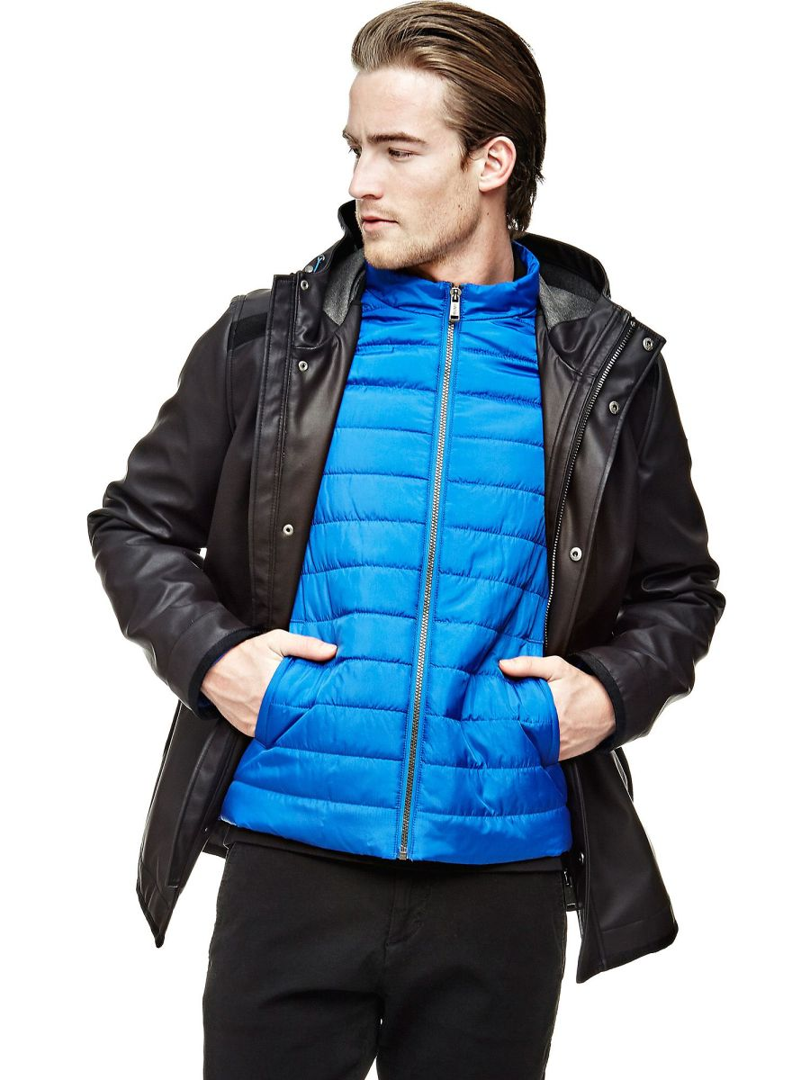 Mens Parka Jacket COATED-LOOK PARKA at GUESS.eu