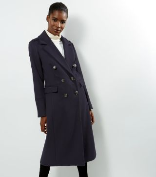 Navy Military Maxi Coat at New Look