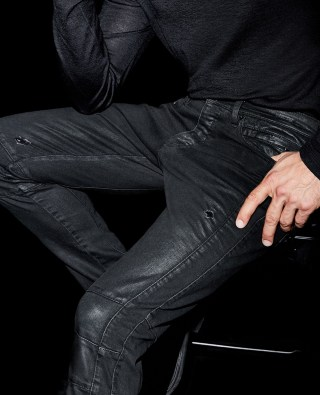 Washed biker jeans with quilted details and zips at The Kooples