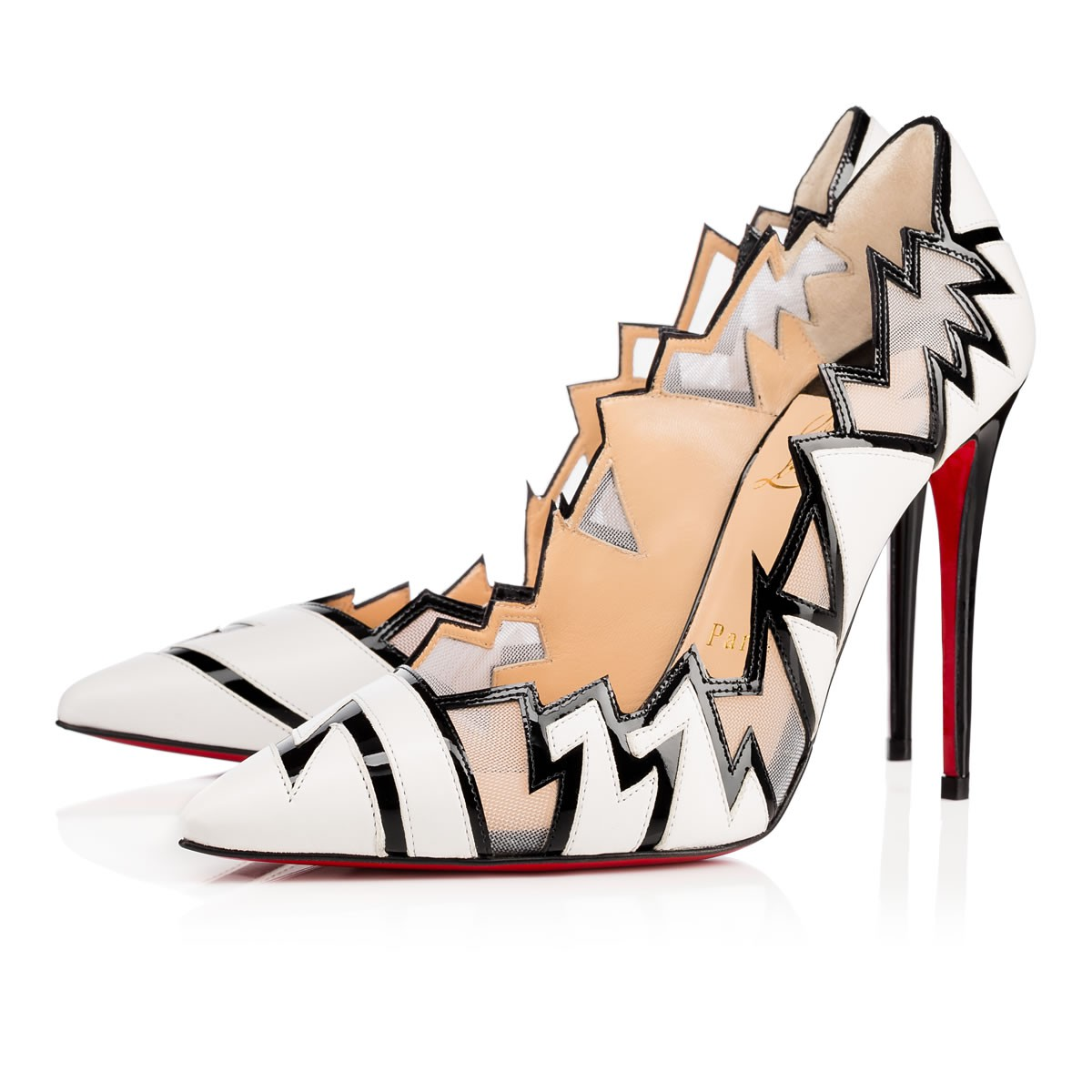 Christian Louboutin EXPLORETE NAPPA SHINY/PATENT 100 Latte Lambskin - Women Shoes