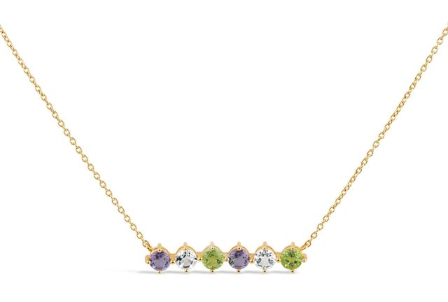 DINNY HALL Gold Vermeil Suffragette Gemstone Bar Necklace at Liberty London