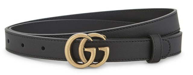 Gucci gg buckle slim leather belt