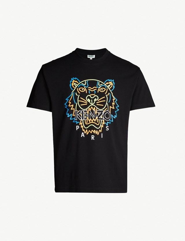 Kenzo neon tiger print cotton jersey t-shirt at Selfridges