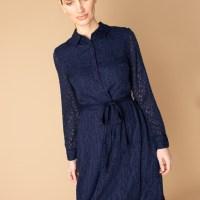 Premium Navy Belted Jacquard Shirt Dress