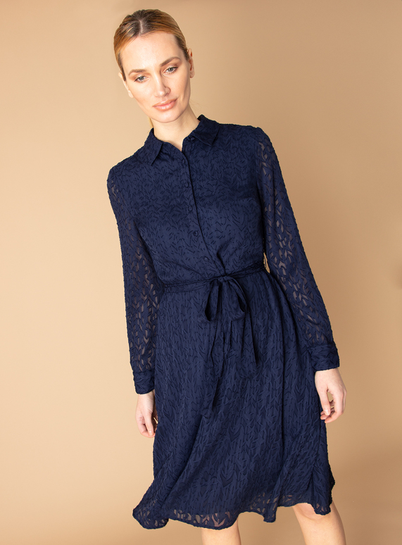 Premium Navy Belted Jacquard Shirt Dress