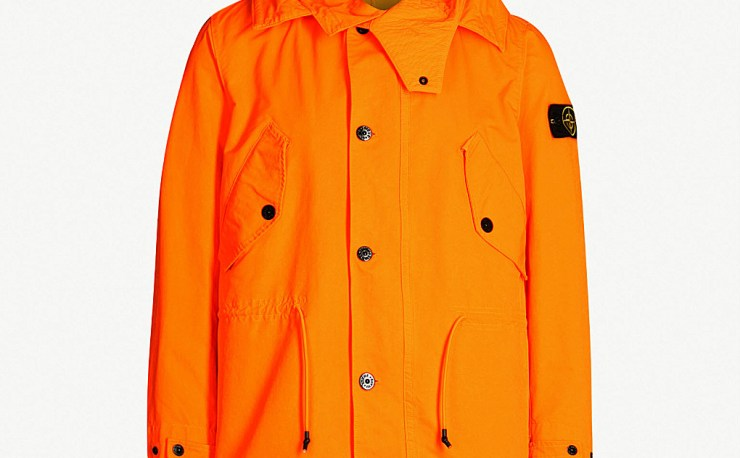STONE ISLAND Hooded twill jacket at Selfridges