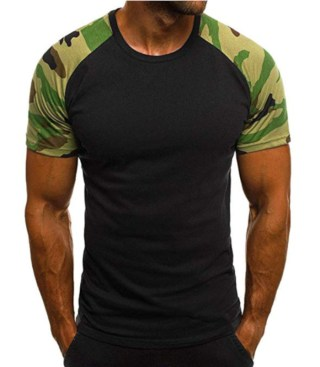 showsing-men clothes Fashion Mens Camouflage Printed Patchwork T Shirt at Amazon