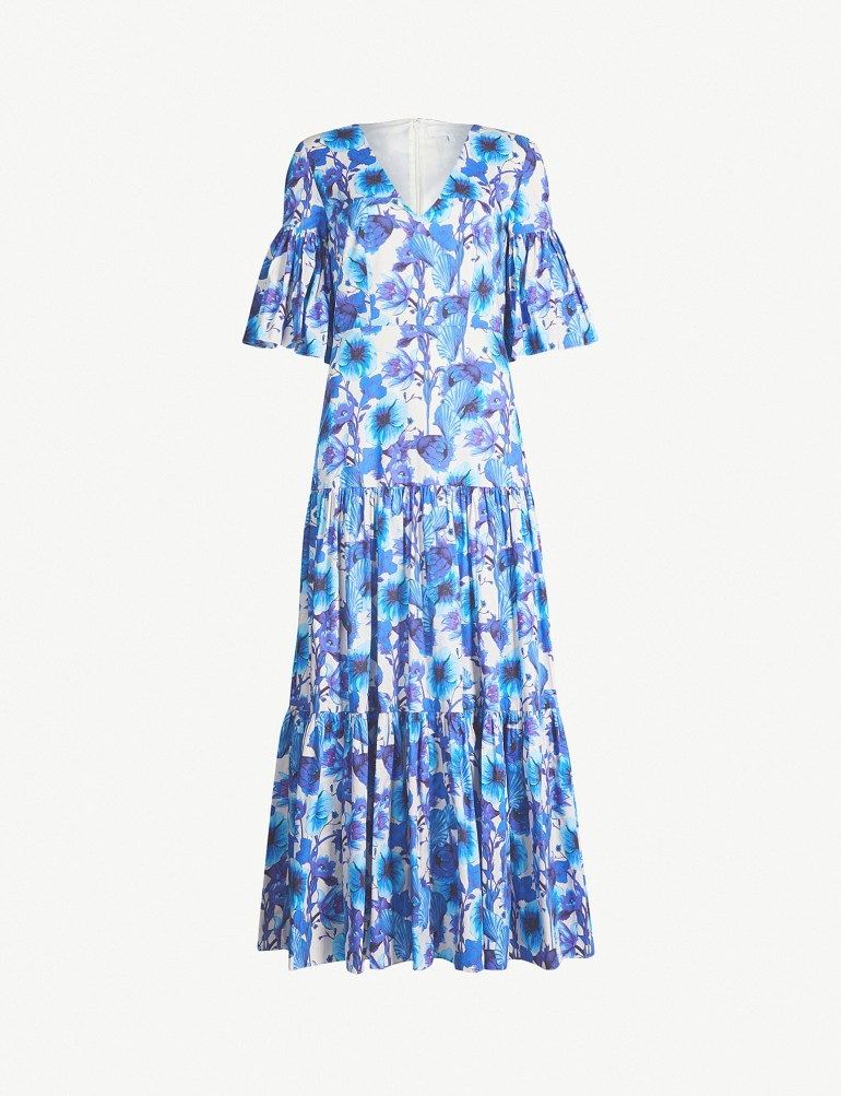 Teodora flared-sleeve floral-print cotton midi dress by Borgo De Nor at Selfridges