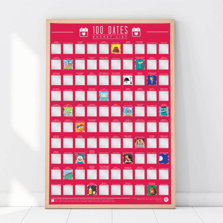 IWOOT 100 dates scratch off poster
