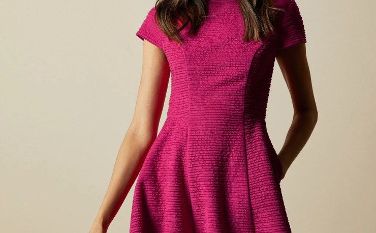 Ted Baker sale CHERISA Texturedskater dress Bright Pink