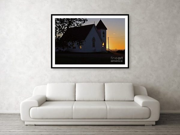 Light and dark at the church, framed art print