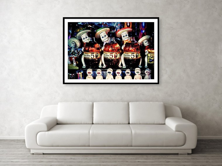 Day of the Dead Mexico, candy and Tequila display - framed art print