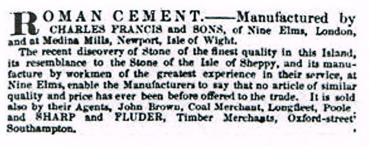An 1844 advert for Charles Francis and sons