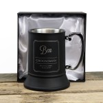 Engraved Matte Black Stainless Steel Beer Mug