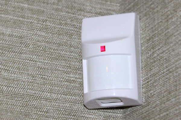 intrusion motion detector installed at a wall
