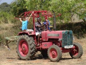 Alexander und Julia mit John bei der Feldarbeit.