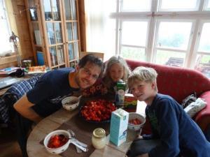 Zum Frühstück Erbeeren, zum Mittagessen, zum Abendessen... sie haben so viel hier davon bei Alexander seinem Freund in Norwegen...