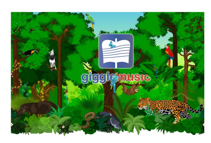jungle vegetation and animals with the gigglemusic logo inside it. app for networking classical musicians