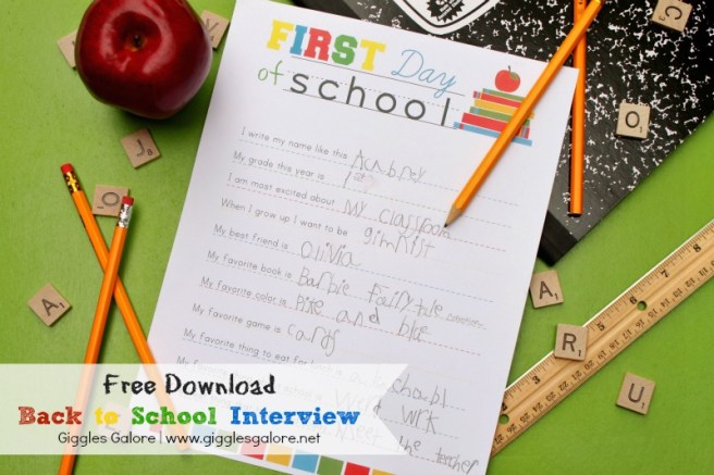 Giggles Galore Back to School Interview via Mandy's Party Printables