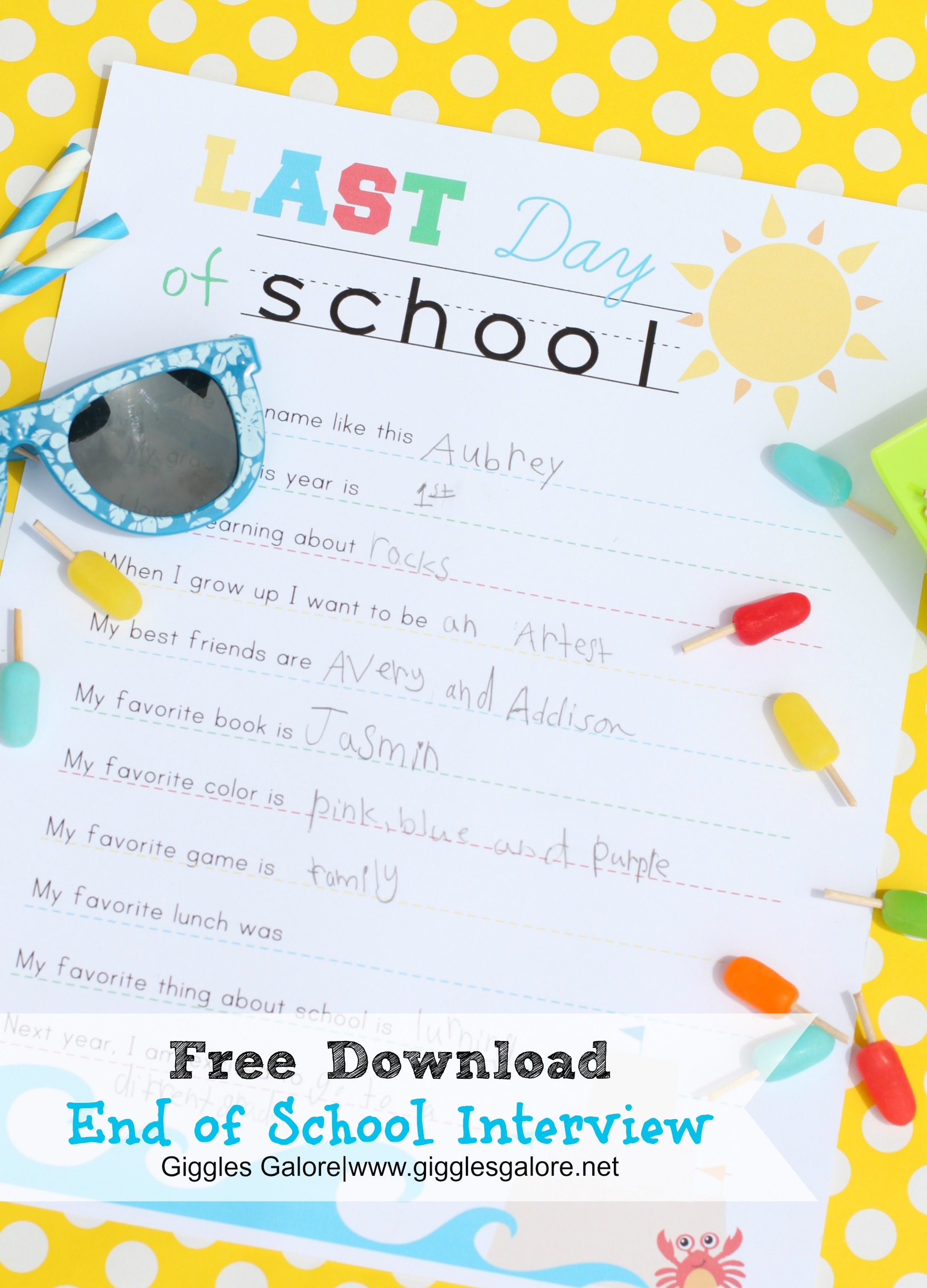 End Of School Interview Printable